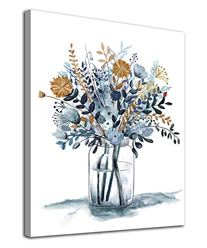 Flowers Wall Art Pictures Wall Decor Watercolor Canvas Pictures Bathroom Bedroom Living Room Decoration Blue Canvas Picture Contemporary Botanic in Jar Canvas Artwork Framed Ready to Hang 12' x 16'