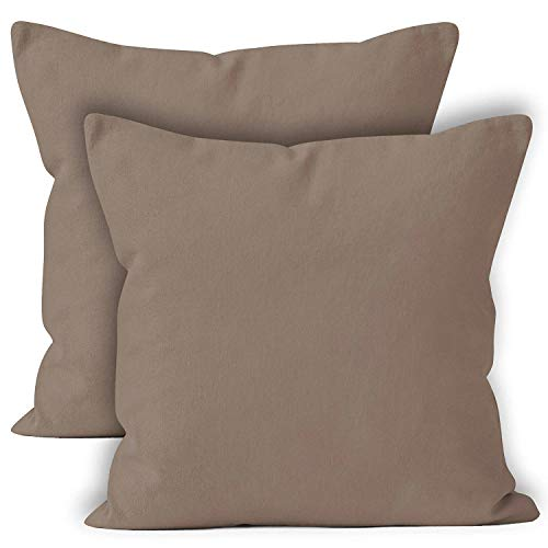 Encasa Homes Cushion Covers 2pc set (60 x 60 cm) - Beige - Solid Dyed Cotton Canvas, Decorative Large Square Colourful Washable Throw Pillow Cases for Living Room, Sofa, Bedroom, Home & Hotel