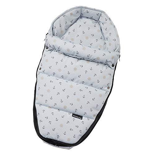 Gesslein Baby-Nestchen, 824 Anker beige/marine, warmes Kuschelnest/Fußsack für Neugeborene und Säuglinge, für Kinderwagen Wanne, Babyschale, Bettchen und Wiege, inkl. Gurtschlitze