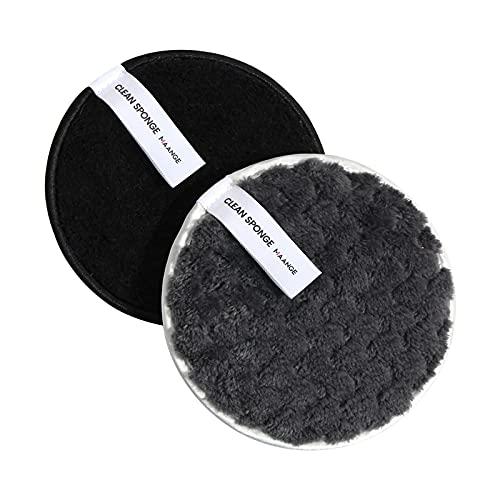Yukong Lot de 2 houppettes à poudre rondes pour maquillage du visage Noir