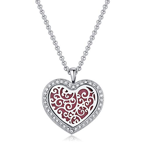 CF100 Heart Diffuser Necklaces Aromatherapy Necklaces 316L Stainless Steel Essential Oils Diffuser Necklaces with Chain+Pads (Heart-Shaped + Crystals)