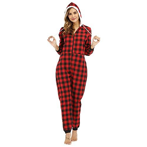 Pijama Algodón de una Pieza Invierno para Mujer Cremallera a Cuadros Pijama Encapuchado Calentito Ropa de Casa Dormir,Rojo,XXL