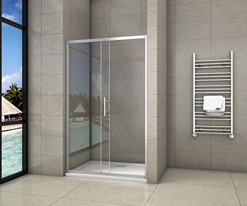Aica box doccia per nicchia, composto da 2 ante, una fissa l'altra scorrevole, porta scorrevole, cristallo temperato 5mm 140cm,Altezza:190cm