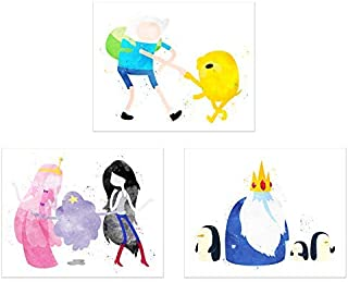 Watercolor Adventure Time Poster Prints - Set of 3 (8x10) Cartoon Network Wall Art Decor - Finn - Jake - Ice King - Princess Bubblegum - Marceline - Lumpy Space Princess