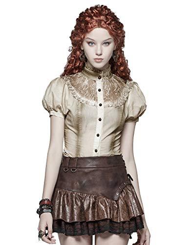 Punk Rave Victorian Vintage Puff Kurzarm Shirt Steampunk Lace Flower Mesh Spleißen Bluse Tops Weiß M