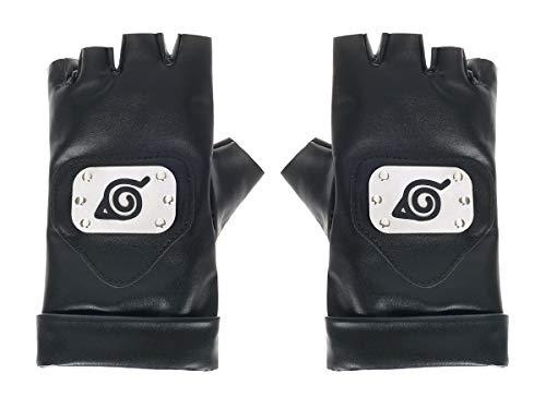 CoolChange Kakashi Handschuhe mit Konoha Wappen | Ninja Handschuhe für Naruto Fans | Schwarz