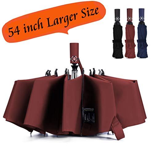 Umbrella Reverse Umbrella Windproof Compact Folding Large Size Auto open close 10 ribs - Burgundy