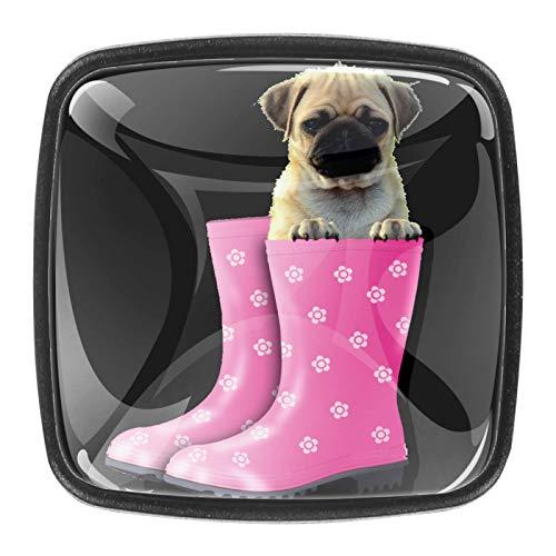 Pomos cuadrados para armarios de coche, armarios de cocina o palancas de cajón (paquete de 4) divertido perro carlino