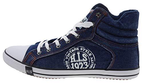 H.I.S. Schnürboots Sneaker Herren Schuhe High Top blau - 44