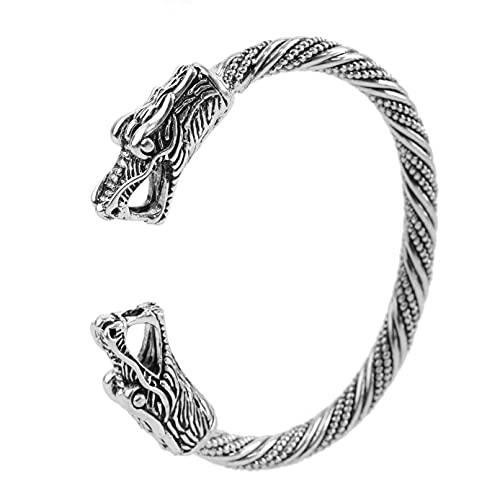 KKJOY Vintage Wikinger-Armreif mit Drachenkopf, Metall, Manschette Armbänder Tierschmuck für Teenager, Schmuck für Herren