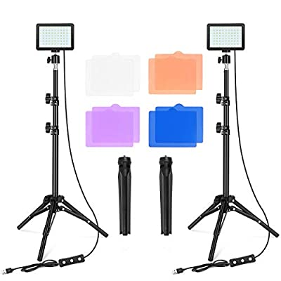 LED Video Light Photography Lighting Kit Studio Panel Key Lights for Video Recording, 10 Brightness/4 Color Filters Dimmable, Adjustable Tripod Stand, USB Fill Light for Camera Photo, YouTube, Stream