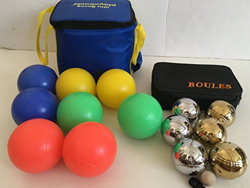 Glow in Dark Bocce Set and 73mm Metal Petanque/Boules 6 Ball Set with 3 silver and 3 gold balls and black bag