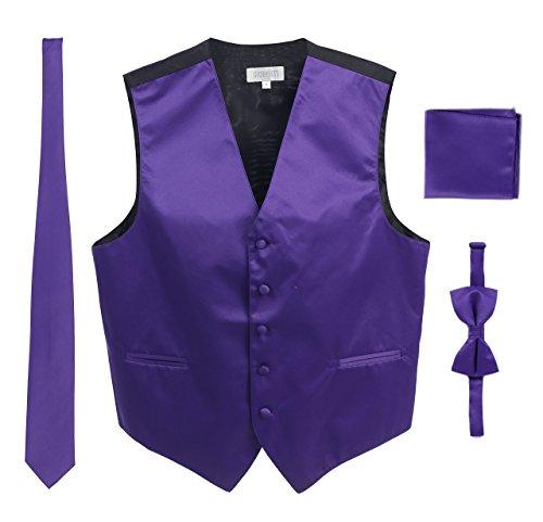 Men's Formal 4pc Satin Vest Necktie Bowtie and Pocket Square, Purple, X Small
