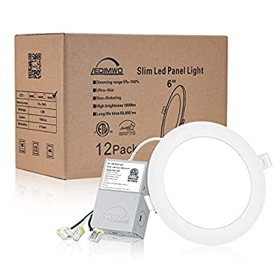 """LEDIMWO 12 Pack No-Flicker Dimmable 6""""LED Downlight, Recessed Ceiling Light, Led Panel Light with Junction Box, 5000K Daylight, 12W=120W, 1000lm, IC Rated ETL & Energy Star"""