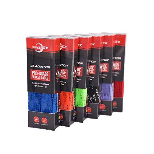 Rollerex Gladiator gewachste Schnürsenkel, Größe und Farbe Optionen, Schwarz, 213,4 cm
