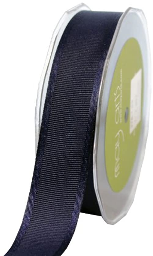 May Arts 1-Inch Wide Ribbon, Navy Grosgrain with Satin Edge