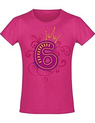 Camiseta de Cumpleaños - 6 Años con Corona y Brillo - Año 2014 - T-Shirt Niños Chica Niña Niñas Girl-s - Rosa Pink Fucsia Pijama - Regalo Princesa Princess - Birthday (128)