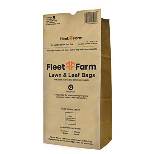 FLEETFARM 30 Gallon Heavy Duty Brown Paper Lawn and Refuse Bags for Home...