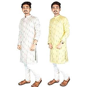Riyashree Cotton Men's Straight Long Kurta for Men Latest Traditional Ikat Pattern Design Combo (Pack of 2) 001 003