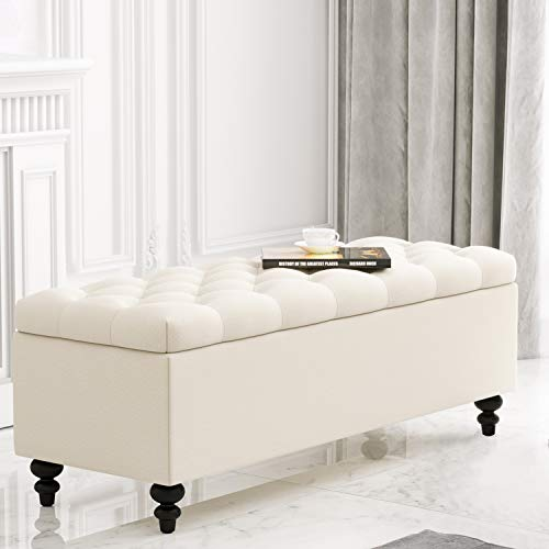 HUIMO Ottoman with Storage, 51-inch Storage Ottoman Bench with Button-Tufted, Bedroom Bench Safety Hinge Ottoman in Upholstered Fabrics, Large Storage Bench for Bedroom, Living Room (Ivory)
