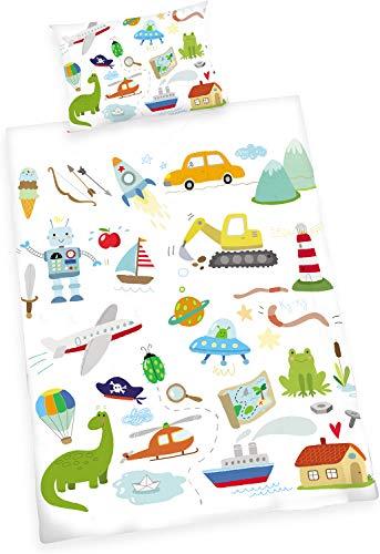 MUSOLEI Juego de funda de edredón para niños con dibujos animados para niños, helicóptero, camión, barco, robot en estilo de dibujos animados, suave, con funda de almohada