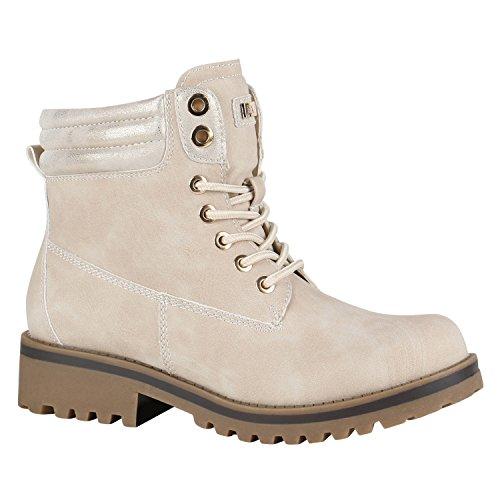 Gefütterte Damen Outdoor Stiefeletten Worker Boots Schuhe 148886 Creme Schnürung 41 Flandell