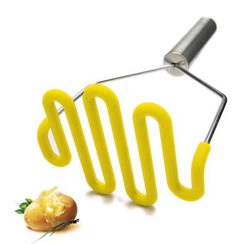 Jell-Cell - Machacador de patatas, color amarillo de silicona protege el cuerpo con premuim de acero inoxidable antiarañazos, utensilios de cocina para puré de papas y verduras y frutas