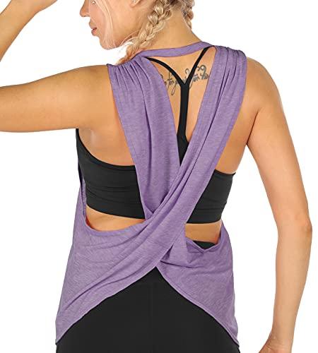icyzone Damen Sport Tank Tops Rückenfrei Yoga Gym Training Locker Shirt Fitness Oberteile (XL, Lavendel)
