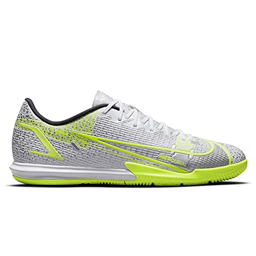 Nike Vapor 14 Academy IC, Scarpe da Football Uomo, Bianco e Nero Metallizzato Silver Volt, 45 EU