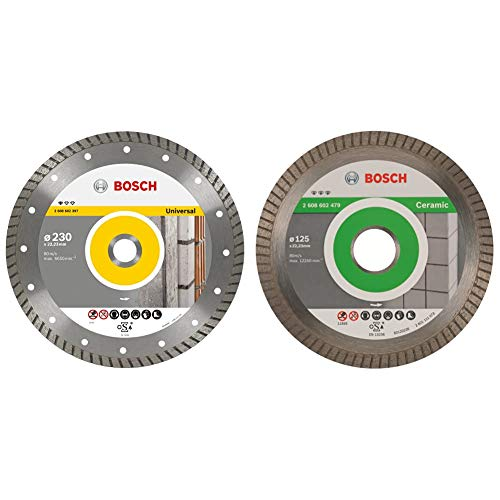 Bosch 2 608 602 397 Disco tronzador de diamante Standard for Universal Turbo 230 x 22,23 x 2,5 x 10 mm (pack de 1) + Disco de corte de diamante Best for Ceramic Extra-Clean Turbo