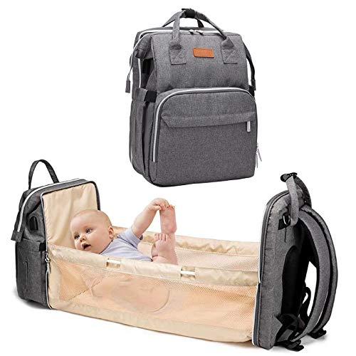 Mochila Bebe Bebés Cama Pejoye, Mochila Bebe Pañales Plegable Cinturón de Pañales Impermeable Multifuncional Portátil de Viaje Para Madre (Gancho de Cinturón Gris)