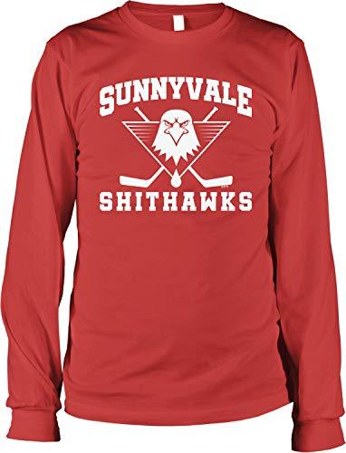 NOFO Clothing Co Sunnyvale Shithawks Men's Long Sleeve Shirt, S Red