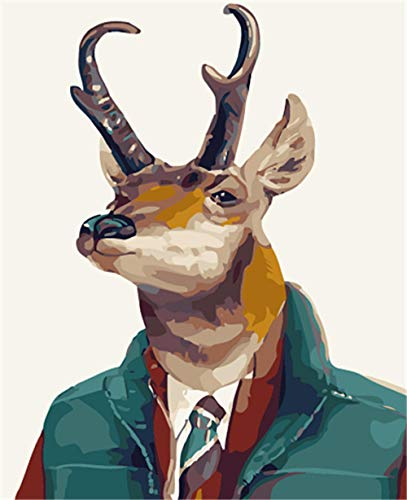 DIY Oil Painting Suit Deer Paint by Number Kits for Adults and Kids Pigment Canvas Beginner with 3 Brushes 40x50cm【Without Frame】