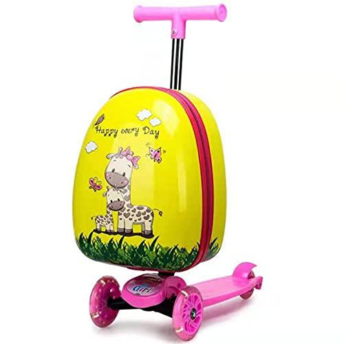 ONE-KJWH Maleta Trolley para Patineta para Niños, Maleta Equipaje De Vacaciones Scooter De Viaje Multifuncional Maleta De 15 Pulgadas con Ruedas Universales Cockpit Scooter (27 * 60Cm),Amarillo