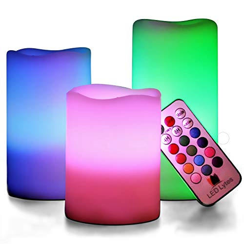 LED Multi Colored Flameless Candles Battery Operated, 3 Round Ivory Wax with Multi-Function Timer Remote Control, Flickering Flame Candle Set for Room Decor for Teen Girls