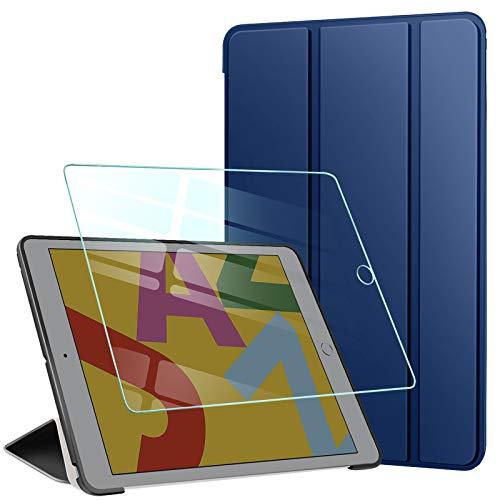 AROYI Custodia Cover Compatibile con iPad 8 7 (10.2 Pollici, 2020 2019 Modello, 8 7 Generazione) con Vetro Temperato, Ultra Sottile e Leggere Magnetico Smart Stand con Auto Svegliati Sonno, Blu