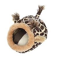 ASOSMOS 冬用 ハムスター ハウス 暖かい ハムスター 寝袋 ラット ハリネズミ モルモット ハウス 可愛い 小動物 ベッド 取り外し可能なクッション 巣 防寒対策
