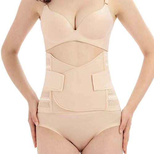 GLAMORAS® Postpartum Recovery Belly Band Waist Trainer Cincher Trimmer Tummy Control Slimming Body Shaper Shapewear Belt,Beige (Fits Upto Size 38')