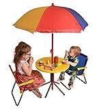 Dealz Outdoor Kids Bistro Patio Set Outdoor Garden Furniture with Parasol Tea Party, Home Schooling, Multi Coloured Children's Play