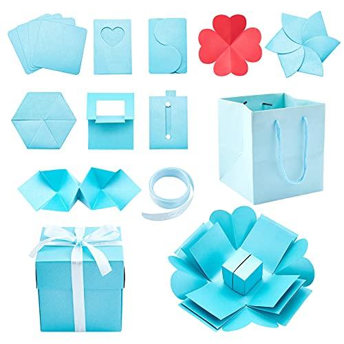 PandaHall Caja de explosión cian, álbum de fotos de 5 pulgadas, caja de regalo de múltiples capas, caja de recuerdos creativa para cumpleaños, boda, aniversario, día de San Valentín