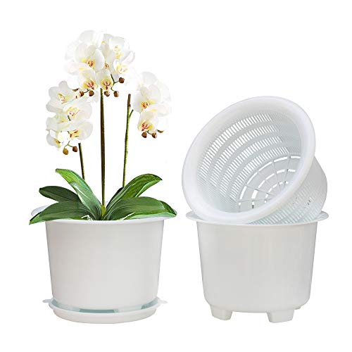 Meshpot 8 Inches Plastic Orchid Pots with Holes - 1 Inner Pot,1 Outer Pot,1 Tray (1PC White)