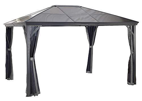 Sojag 10' x 14' Verona Hardtop Gazebo Outdoor Sun Shelter, Dark Grey