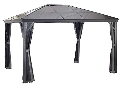 Sojag 10' x 14' Verona Hardtop Gazebo Outdoor Sun Shelter, Dark Grey