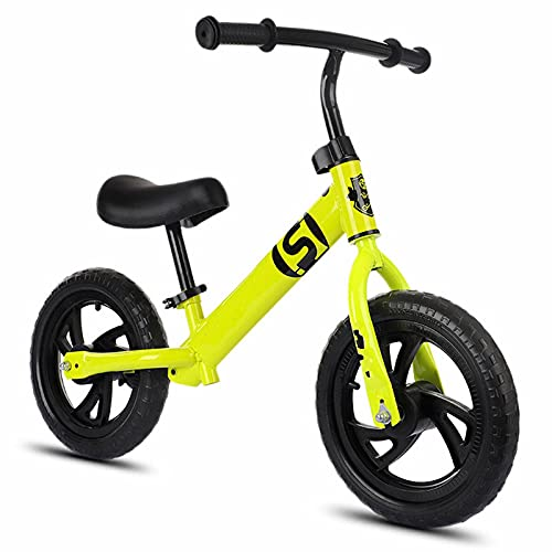XIAOLULU BicicletaBicicletas De Monta?a para Ni?os Sin Pedal Bicicletas BMX De 12 Pulgadas para Entrenamiento De Ciclistas Principiantes De 2/3/4/5/6 A?os (Size:One Size; Color:Yellow)