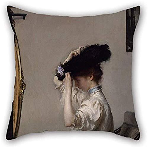 Pintura al óleo Tarbell, Edmund Charles: preparación para el Matinee Fundas de cojín, adornos y...