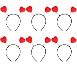 ANDES Hearts Bopper Costume Party Headband for Valentine's Day Pack of 6 (G)