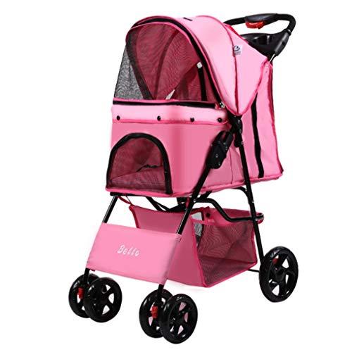 WGYDREAM Hunderollstuhl Hund Rollstuhl Hunde Pram Pet Travel Spaziergänger Hund Katze Buggy for Reisen Vet Behinderte Hund Kinderwagen 2 Schwenkräder Hinterradbremse Haustier Rollstuhl (Color : Pink)