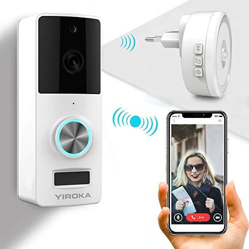 YIROKA Wifi Videocitofono, Audio a 2 vie, Kit Campanello Smart Wireless, 1080P HD Vista in Tempo Reale, IP65 Impermeabile, Rilevamento del Movimento PIR, Ricevitore Luce Notturna Incluso