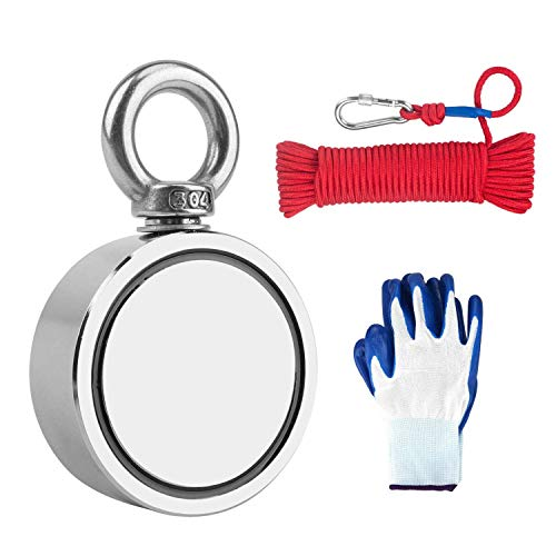 780lbs Fishing Magnets with Rope, Double Sided Fishing Magnet Bundle Pack, Retrieval Fishing Magnet Kit with Neodymium Magnets Heavy Duty for Magnetic Fishing and Salvage Underwater