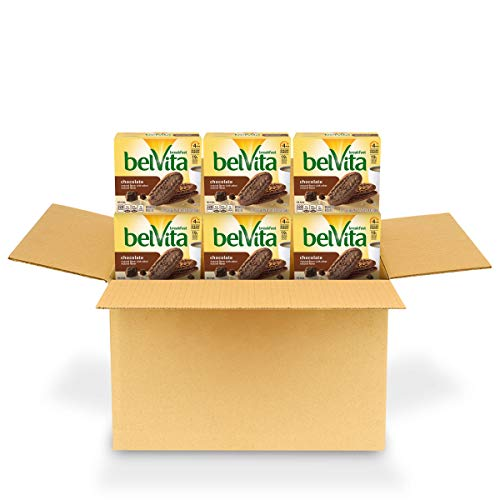 belVita Chocolate Breakfast Biscuits, 6 Boxes of 5 Packs (4 Biscuits Per Pack)